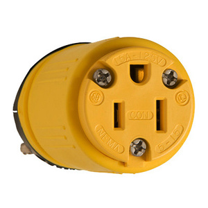 Pass & Seymour 1547 15 Amp 125 Volt Rubber Dust Tight Connector Yellow