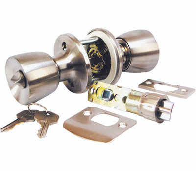 US Hardware D-090B Keyed Entrance Mobile Home Lockset Polished Stainless