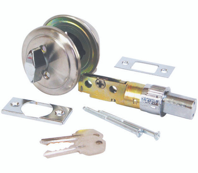 US Hardware D-113B Single Cylinder Deadbolt Mobile Home Drive In Latch Polished Stainless