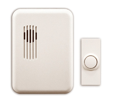 HeathCo SL-7751-03 Chime W/Button Cvr Plug-In Wht