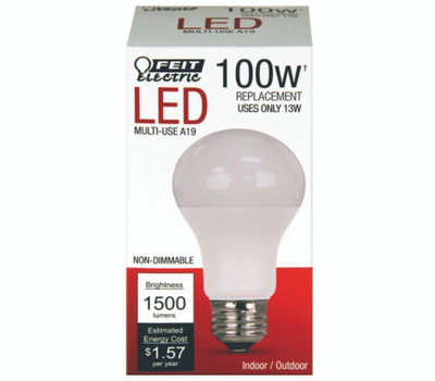 Feit Electric A1600/827/10KLED Bulb Led A19 100w Equiv 3000k