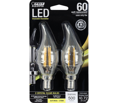 Feit Electric BPCFC60/827/LED/2/C1 500 Lumen Clear Flame Tip LED Dimmable Chandelier Bulb 2 Pack