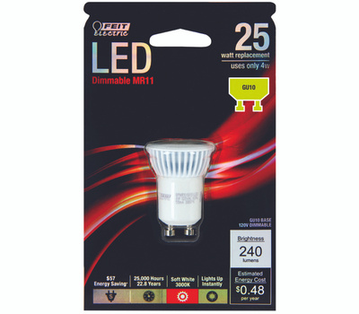 Feit Electric BPMR11/GU10/LED Dimmable LED MR11 25 Watt Replacement Bulb With GU10 Base 240 Lumen