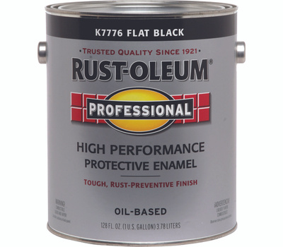 Rust-Oleum K7776402 Professional Flat Black Direct To Metal Gallon 400 VOC Alkyd Enamel