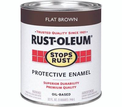 Rust-Oleum 239083 Stops Rust Flat Brown Rust Protective Enamel Quart Oil