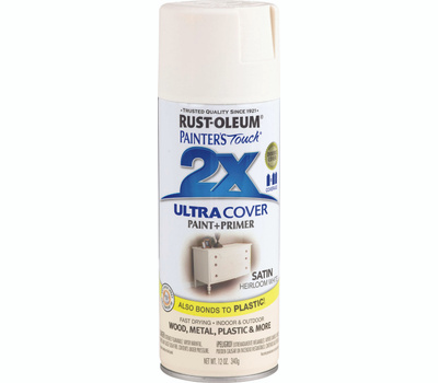 Rust-Oleum 249076 Painters Touch 2X Ultra Cover Paint + Primer Heirloom White Satin 12 Ounce Spray