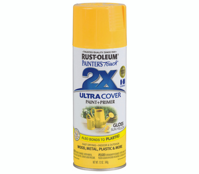 Rust-Oleum 249092 Painters Touch 2X Ultra Cover Paint + Primer Sun Yellow Gloss Spray