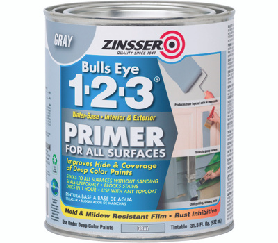 Zinsser 286258 Bulls Eye 1-2-3 Gray Primer For Deep Color Paints Water-Based Quart