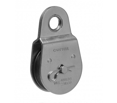 Campbell Chain T7550402 Fixed Eye Pulley 2 Inch For 3/8 Inch Rope Zinc Plated Steel