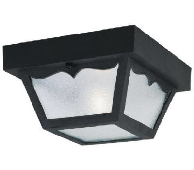 Westinghouse 66822 Single Lamp Ceiling Fixture High Impact Black Finish Clear Textured Glass