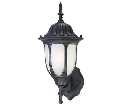 Westinghouse 66826 1 Light Wall Lantern Black Powder On Cast Aluminum Frosted Glass Panel