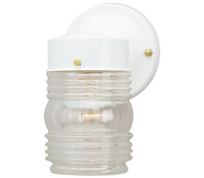 Westinghouse 66878 1 Light Jelly Jar White Finish On Steel Clear Glass