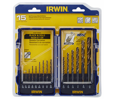 Irwin 318015 Turbomax 15 Piece Black Oxide Drill Bit Set 1/16 To 3/8 Inch