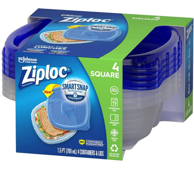 Ziploc 70935 Ziploc Container Small Square 24 Ounces