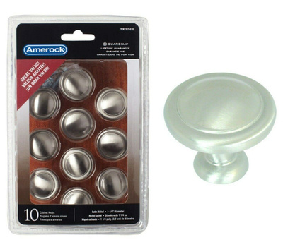 Amerock TEN1387G10 Allison Value Hardware Cabinet Knob 1-1/4 Inch Satin Nickel Pack Of 10