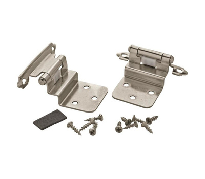 Amerock BPR3428G9 Self Closing Face Frame Mount 3/8 Inch Inset Hinges Sterling Nickel