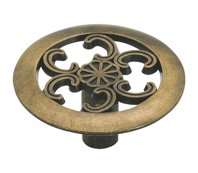 Amerock 890ABS Allison Value Hardware Round Cabinet Knob With Scroll Cutouts Antique Brass