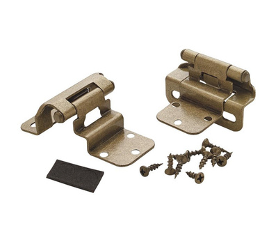 Amerock BPR7565BB 3/8 Inch Inset Partial Wrap Self Closing Cabinet Hinges Burnished Brass