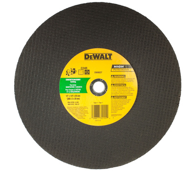 DeWalt DW8027 12 Inch By 1/8 Inch By 20 Mm High Performance High Speed Cutoff Masonry Wheel