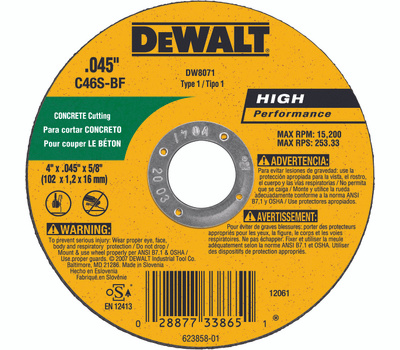 DeWalt DW8071 4X.045X5/8 Cut Wheel
