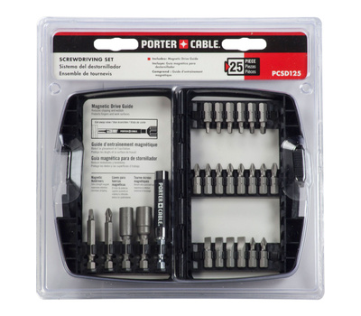 Porter Cable PCSD125 25 Piece Screwdriving Set With Magnetic Drive Guide
