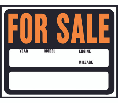 Hy Ko SP-112 Hy Glo 15 Inch By 19 Inch Auto Or Boat For Sale Jumbo Sign