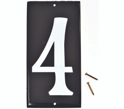 Hy Ko CA-25/4 3-1/2 Inch White Reflective On 5 Inch Black Aluminum Panel House Number 4