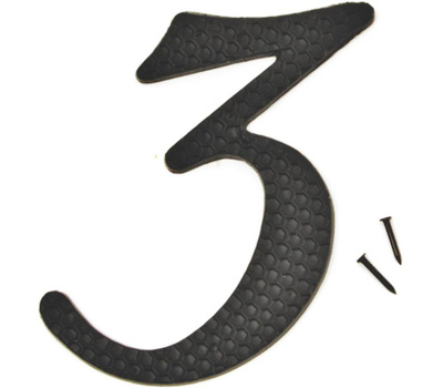 Hy Ko DC-5/3 4-1/2 Inch Black Hammered Aluminum House Number 3