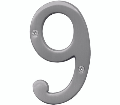 Hy Ko BR-43SN/9 Prestige Series 4 Inch Prestige Satin Nickel House Number 9
