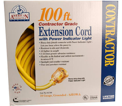 Southwire 01799 100 Foot 10/3 Yellow Extension Cord