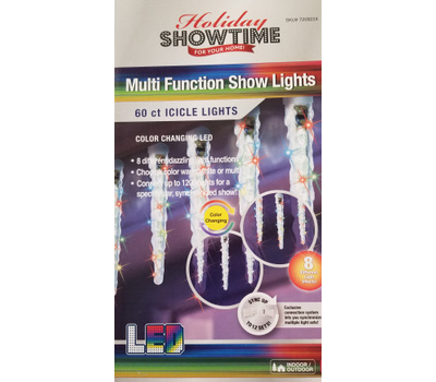 Holiday Basix U16E143A Icicle Drop 60 Count Multi Function Color Changing LED Icicle Show Lights