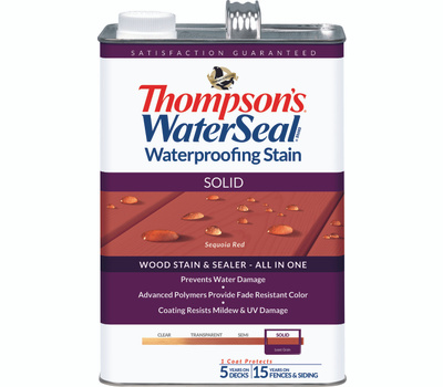 Thompsons TH.043831-16 Sequoia Red Waterproofing Solid Color Stain & Sealer Gallon