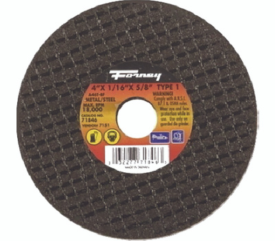 Forney 71846 4 By 1/16 By 5/8 Inch Aluminum Oxide Metal Cutting Wheel