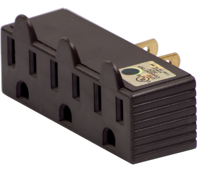 Cooper Wiring BP1147B 3 Outlet 3 Wire Grounded Adapter Brass
