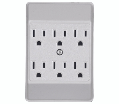 Cooper Wiring C1146W 6 Outlet 3 Wire Grounded Tapping White