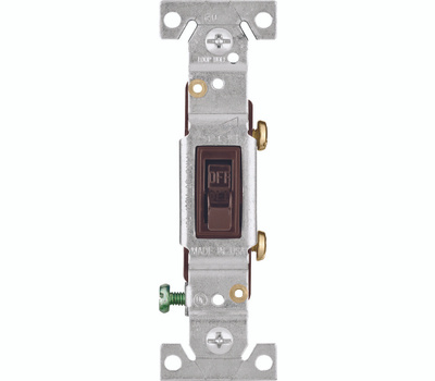 Eaton-Cooper Wiring 1301-7B Toggle Switch Quiet 1 Pole Framed Grounding Brown