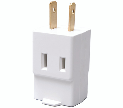 Cooper Wiring BP4400W 3 Outlet 2 Wire Cube Tap White