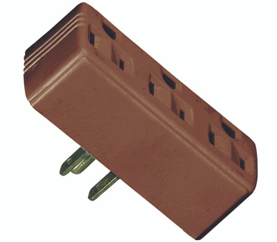 Cooper Wiring 1147B-BOX 3 Outlet 3 Wire Grounded Adapter Brown
