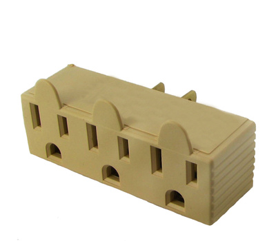 Cooper Wiring 1147V-BOX 3 Outlet 3 Wire Grounded Adapter Ivory