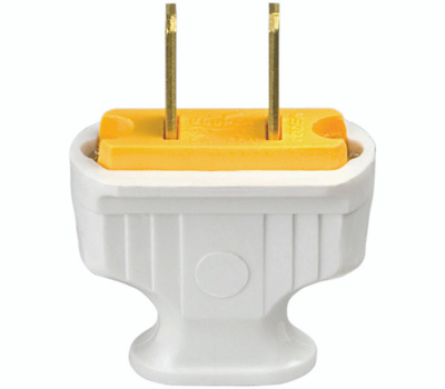 Cooper Wiring 1912W-BOX 2 Wire Flat Handle Plug White