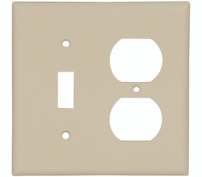 Cooper Wiring 2138V-BOX Combination Duplex Receptacle & Toggle Switch Wall Plate Ivory