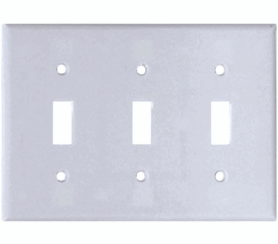 Cooper Wiring 2141W-BOX 3 Gang Standard 3 Toggle Wall Plate White