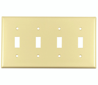 Cooper Wiring 2154V-BOX 4 Gang Toggle Switch Wall Plate Ivory