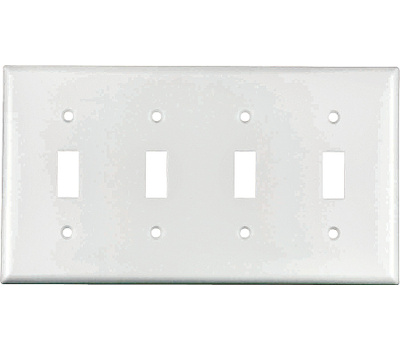 Cooper Wiring 2154W-BOX 4 Gang Standard 4 Toggle Wall Plate White