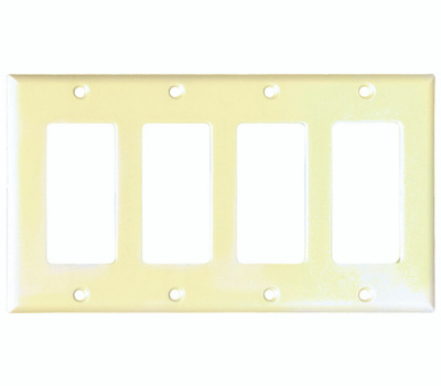 Eaton Cooper Wiring 2164V-BOX Smooth Line Decorator 4 Gang Wallplate Ivory