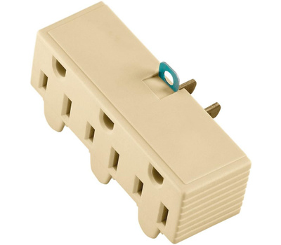 Cooper Wiring 1219V-BOX 3 Outlet 2 Wire Grounded Adapter Ivory