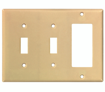 Cooper Wiring 2173V-BOX 3 Gang Ivory 2 Toggle And Decorative Plate
