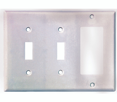 Cooper Wiring 2173W-BOX 3 Gang White 2 Toggle And Decorative Plate