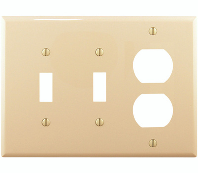 Cooper Wiring PJ28V 3 Gang 2 Toggles And Duplex Plate Ivory