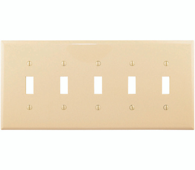 Cooper Wiring PJ5V 5 Gang Toggle Plate Ivory